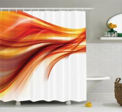 Kırmızı Dalga Desenli Duş Perdesi Beyaz Fon Modern