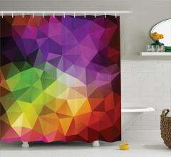 Rengarenk Üçgen Desenli Duş Perdesi Geometrik Şık