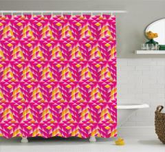 Küp Desenli Duş Perdesi Geometrik Pembe Sarı Şık
