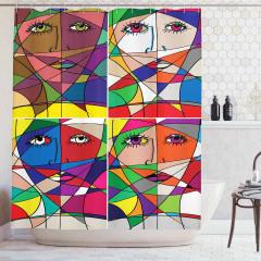 Kadın Yüzü Temalı Duş Perdesi Rengarenk Sanat Eseri