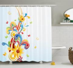 Rengarenk Çiçek Desenli Duş Perdesi Çeyizlik Trend