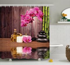 Sağlık Temalı Duş Perdesi Pembe Çiçek SPA Masaj