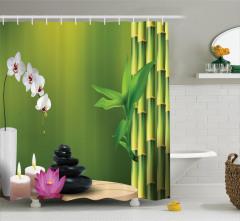 Bambu Çiçek ve Mum Desenli Duş Perdesi Terapi Temalı
