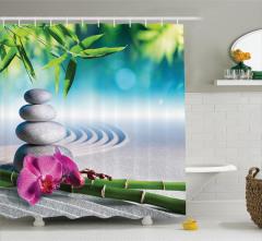 Zen Bahçesi Temalı Duş Perdesi Kum Orkide Taş Masaj