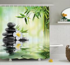 Masaj Severler İçin Duş Perdesi Çiçek Su Taş SPA
