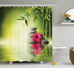 Sağlık Temalı Duş Perdesi Masaj Bambu Kırmızı Çiçek