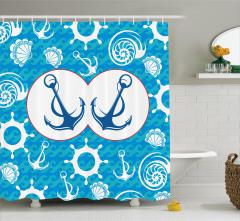 Deniz Temalı Duş Perdesi Mavi Beyaz Fon Şık Tasarım