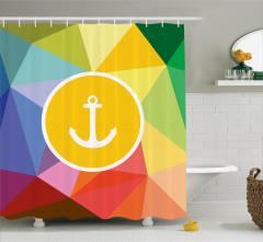 Rengarenk Çapa Desenli Duş Perdesi Deniz Temalı