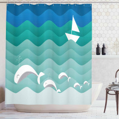 Dalga ve Balık Desenli Duş Perdesi Mavi Deniz Gemi