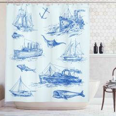 Antik Denizcilik Temalı Duş Perdesi Balık Gemi Çapa