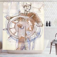 Denizci Temalı Duş Perdesi Elle Çizim Şık Tasarım