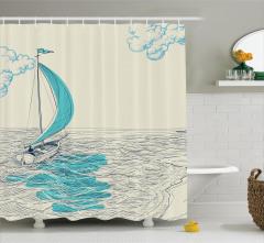 Yelkenli ve Deniz Desenli Duş Perdesi Elle Çizim Şık