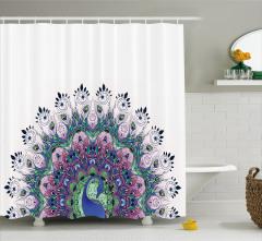 Rengarenk Tavus Kuşu Desenli Duş Perdesi Şık Tasarım