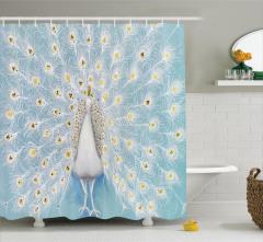 Tavus Kuşu Desenli Duş Perdesi Mavi Sarı Şık Tasarım