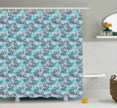 Kış Temalı Duş Perdesi Tavus Kuşu Desenli Mavi