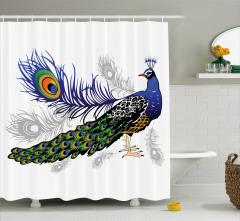 Tavus Kuşu Desenli Duş Perdesi Beyaz Fon Şık Tasarım