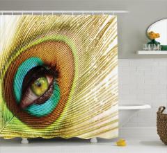 Göz Desenli Duş Perdesi Rengarenk Tavus Kuşu Temalı