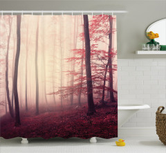 Sisli Orman Temalı Duş Perdesi Kırmızı Ağaç Trend