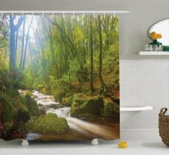 Sisli Orman ve Irmak Temalı Duş Perdesi Yeşil Huzur