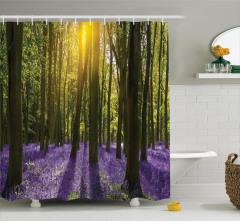 Güneş Orman ve Çiçek Temalı Duş Perdesi Yeşil ve Mor