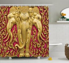 Üç Başlı Altın Fil Temalı Duş Perdesi Hint Buda