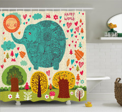 Rengarenk Fil ve Ağaç Temalı Duş Perdesi Çocuklara
