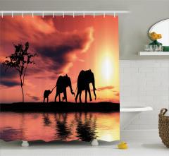 Gökyüzü Göl ve Filler Temalı Duş Perdesi Sanatsal