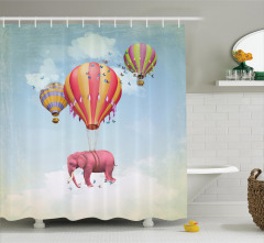 Rengarenk Balon ve Fil Desenli Duş Perdesi Fantastik
