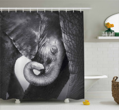 Fil ve Yavrusu Temalı Duş Perdesi Siyah ve Beyaz