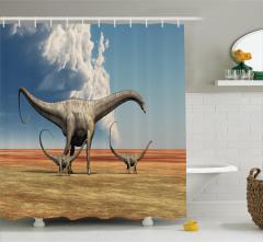 Bilim Severlere Dinozor Desenli Duş Perdesi Bulutlu