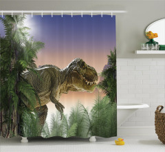 Dinozor ve Orman Desenli Duş Perdesi Yeşil Mavi