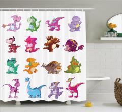 Sevimli Dinozor Desenli Duş Perdesi Çocuklar İçin