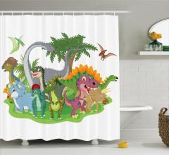 Rengarenk Dinozor ve Ağaç Desenli Duş Perdesi Çocuk