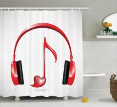 Müzik Severler için Duş Perdesi Kırmızı Melodi