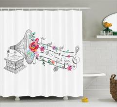 Müzik Temalı Duş Perdesi Nostaljik Gramofon Çiçekler