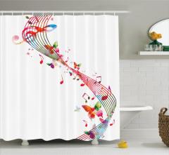 Müzik Severler için Duş Perdesi Rengarenk Porte
