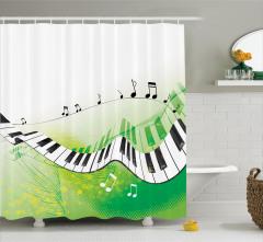 Müzik Severler için Duş Perdesi Piyano Yeşil Beyaz