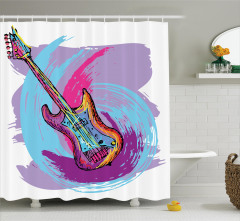 Müzik Severler için Duş Perdesi Rengarenk Gitar Mor