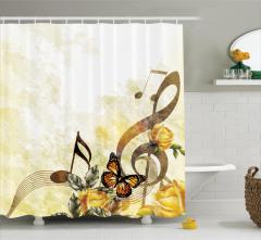 Müzik Severler için Duş Perdesi Nostaljik Güller