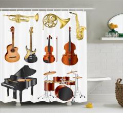 Müzik Severler için Duş Perdesi Piyano Keman Desenli