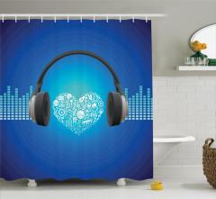 Müzik Aşktır Temalı Duş Perdesi Mavi Beyaz Siyah