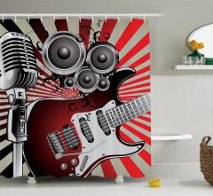 Müzik Severler için Duş Perdesi Gitar Kırmızı Gri
