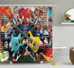 Müzik Severler için Duş Perdesi Sokak Sanatı Grafiti