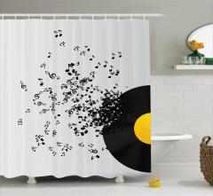 Müzik Severler için Duş Perdesi Uçuşan Notalar Siyah