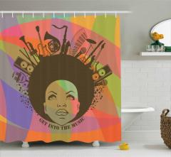Müzik Severler için Duş Perdesi Rengarenk Trend