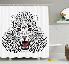Siyah Beyaz Leopar Desenli Duş Perdesi Yaban Hayatı