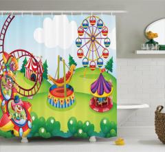 Lunaparkta Palyaçolar Desenli Duş Perdesi Rengarenk