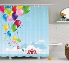 Sirk Balon ve Gökyüzü Temalı Duş Perdesi Çocuk İçin