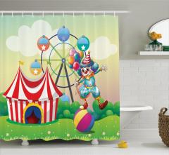 Sirk ve Palyaço Desenli Duş Perdesi Çocuklar İçin