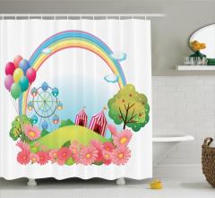 Gökkuşağı Balon ve Sirk Temalı Duş Perdesi Çocuk